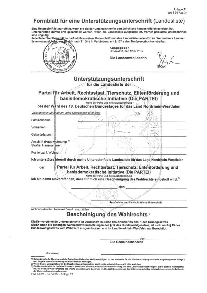 Unterstützungsunterschrift für die Landesliste 2013